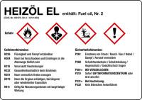 Gefahrstoffetikett, Heizöl EL, Folie, mit H- und P-Sätzen /GHS/CLP/GefStoffV
