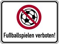Verbotsschild, Fußballspielen verboten!, 300 x 400 mm, Aluverbund