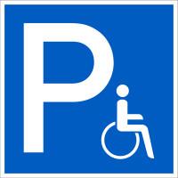 Parkplatzschild, Symbol Rollstuhlfahrer, Folie/Aluminium