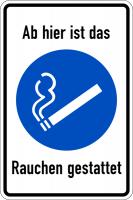 Kombischild, Ab hier ist das Rauchen gestattet