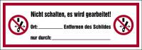 Verbotsschild, Nicht schalten, es wird gearbeitet - ASR A1.3 (DIN EN ISO 7010)
