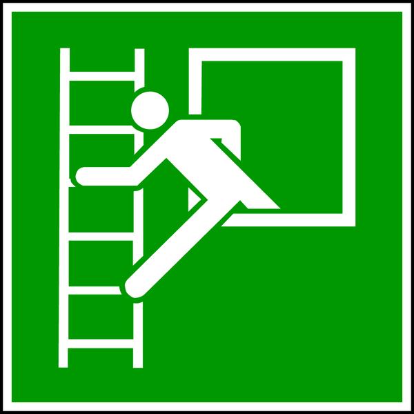 Rettungszeichen, Notausstieg mit Fluchtleiter E016 - ASR A1.3 (DIN EN ISO 7010)