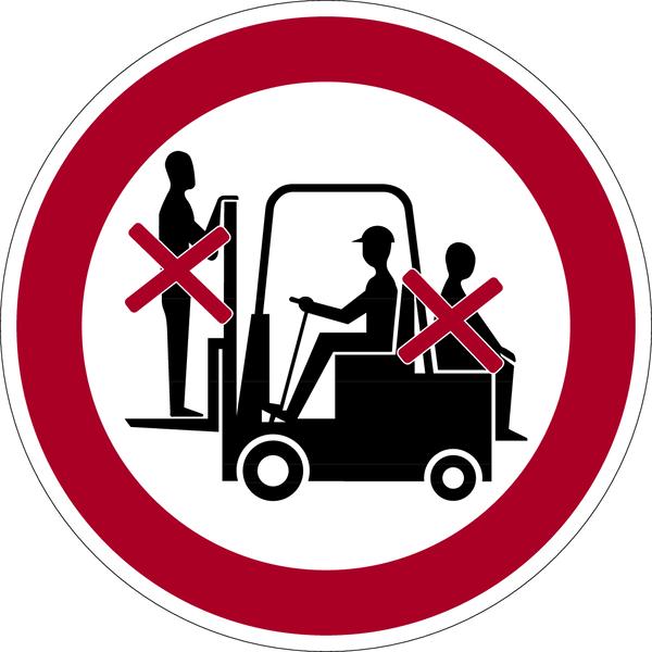 Verbotszeichen, Mitfahren auf Gabelstapler verboten - praxisbewährt
