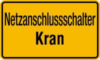 Hinweisschild, Netzanschlussschalter Kran, 120x200mm, Kunststoff