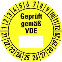 Prüfplakette, Geprüft gemäß VDE (Freifeld), gelb/schwarz, Folie, Ø 30 mm - VE = 10 Plaketten