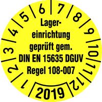 Jahresprüfplakette, Lagererinrichtung geprüft DIN EN 15635 DGUV Regel 108-007 - VE = 10 Plaketten