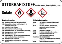 Gefahrstoffetiketten nach CLP/GHS - mit H- und P-Sätzen