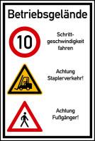 Hinweisschild, Betriebsgelände Schrittgeschwindigkeit, Aluverbund, 900x600mm