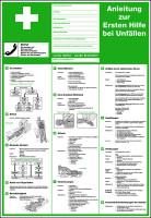Aushang, Anleitung zur Ersten Hilfe bei Unfällen - verschiedene Sprachen