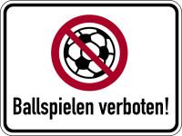 Verbotsschild, Ballspielen verboten, 300x400mm, Alu glatt