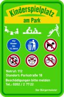 Spielplatzschild gemäß DIN EN 1176, Aluminium, 600 x 400 mm