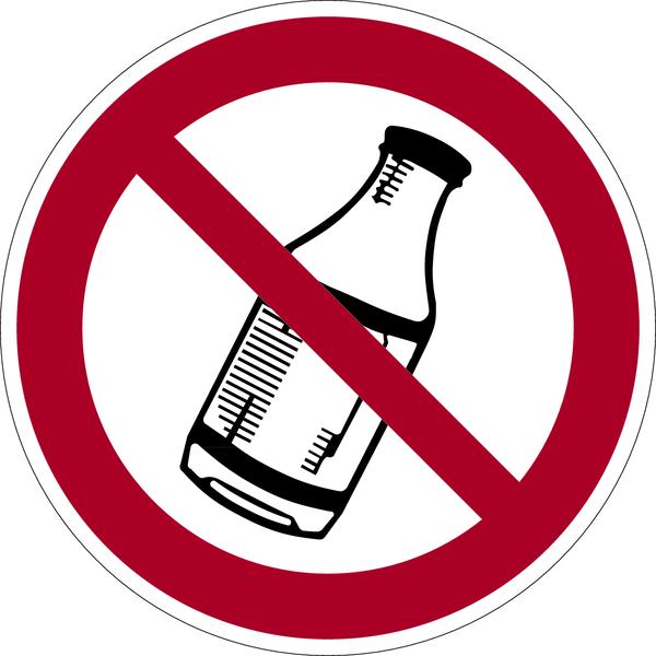 Verbotszeichen, Verbot des Hinauswerfens von Flaschen - praxisbewährt