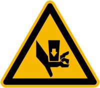 Warnschild, Warnung vor Quetschgefahr durch Einpreßwerkzeug - praxisbewährt