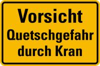 Hinweisschild, Quetschgefahr durch Kran, 200x300mm, Alu geprägt
