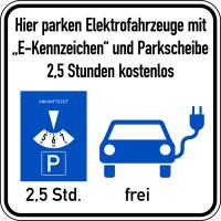 Parkplatzschild, Elektrofahrzeuge mit Parkscheibe, 300 x 300 mm, Aluminium