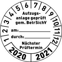 Prüfplakette, Aufzugsanlage geprüft gem. BetrSichV, weiß/schwarz, Folie, Ø 30 mm - VE = 10 Plaketten