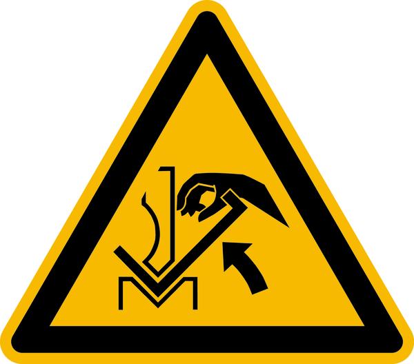 Warnzeichen, Warnung vor Quetschgefahr zwischen Presse und Werkstück W031 - ASR A1.3 (ISO 7010)