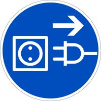 Gebotszeichen, Vor Öffnen Netzstecker ziehen D-M006 - DIN 4844/BGV A8