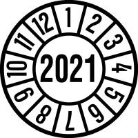 Jahresprüfplaketten, Jahresfarben, Ø 35mm - VE = 10 Plaketten