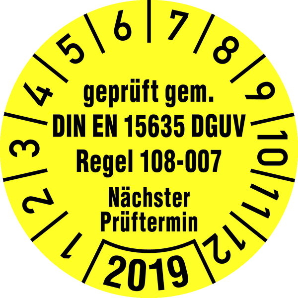 Jahresprüfplakette, geprüft gem. DIN EN 15635/ DGUV Regel 108-007 Ø 30mm - VE = 10 Plaketten