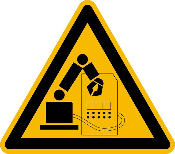 Warnzeichen Warnung vor Gefahren im Greifraum