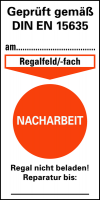 Prüfplakette gem. DIN EN 15635, Nacharbeit, Folie, 80 x 40 mm - VE = 100 Stk.