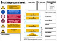 Regalkennzeichnung mit Belastungswarnhinweisen, Fachbodenregal - DIN EN 15635