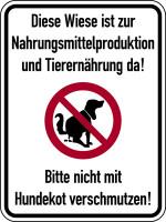 Hinweisschild, Wiese zur Nahrungsmittelproduktion, 400 x 300 mm, Aluverbund