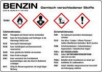 Gefahrengutkennzeichnung GHS-Gefahrstoffetiketten: Benzin