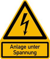 Warnschild, Kombischild, Anlage unter Spannung