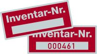 Inventaretiketten, mit Freifeld, Polyesterfolie silber/rot - VE = 100 Stk.