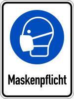 Kombischild, Maskenpflicht, Aluverbund, 400 x 300 mm