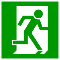 Rettungszeichen, Notausgang rechtsweisend E010 - DIN 4844