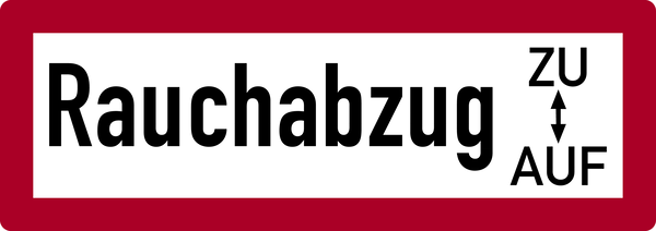 Brandschutzzeichen, Rauchabzug ZU/AUF - DIN 4066