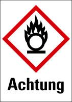 """Gefahrstoffkennzeichnung - Flamme über einem Kreis (GHS03) & Signalwort """"Achtung"""""""