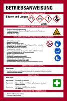 Aushang, Betriebsanweisung für Säuren & Laugen - GHS/ISO 7010 Piktogramme