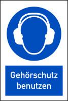 Gebotsschild, Kombischild, Gehörschutz benutzen - DIN EN ISO 7010