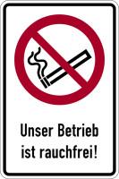 Kombischild, Unser Betrieb ist rauchfrei! - ASR A1.3 (DIN EN ISO 7010)