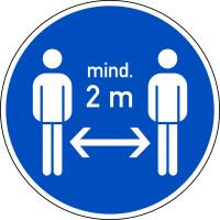 Antirutschbelag, Gebotszeichen, Mind. 2 m Abstand halten, Ø 300 mm, R 11