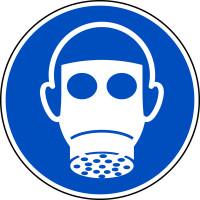 Gebotsschild, Atemschutz benutzen M017 - ASR A1.3 (DIN EN ISO 7010)