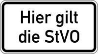 Verkehrszeichen - Hier gilt die StVO, Zusatzzeichen