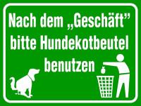 Hinweisschild, Bitte Hundekotbeutel benutzen, Aluminium, 300 x 400 mm