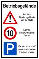 Hinweisschild, Betriebsgelände, 10 km/h, 900 x 600 mm, Aluverbund