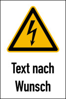 Warnschild, Kombischild, Blitzpfeil (W012) + Wunschtext