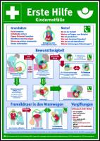 Aushang, Erste Hilfe bei Kindernotfällen gem. DGUV Information 204-001