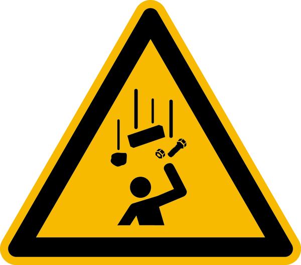 Warnzeichen, Warnung vor herabfallenden Gegenständen W035 - ASR A1.3 (DIN EN ISO 7010)
