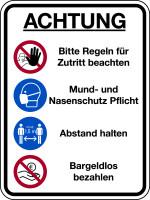 Kombischild, Regeln für Zutritt, Kunststoff, 400 x 300 mm