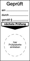 Grundplakette, Geprüft, mit Freifeldern, Folie, 80 x 40 mm - VE = 100 Stk.