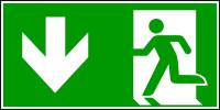 Rettungszeichen, Notausgang, abwärts gehen - ASR A1.3 (DIN EN ISO 7010)