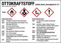 Gefahrstoffetikett, Ottokraftstoff, Benzin, Folie, mit H- und P-Sätzen /GHS/CLP/GefStoffV